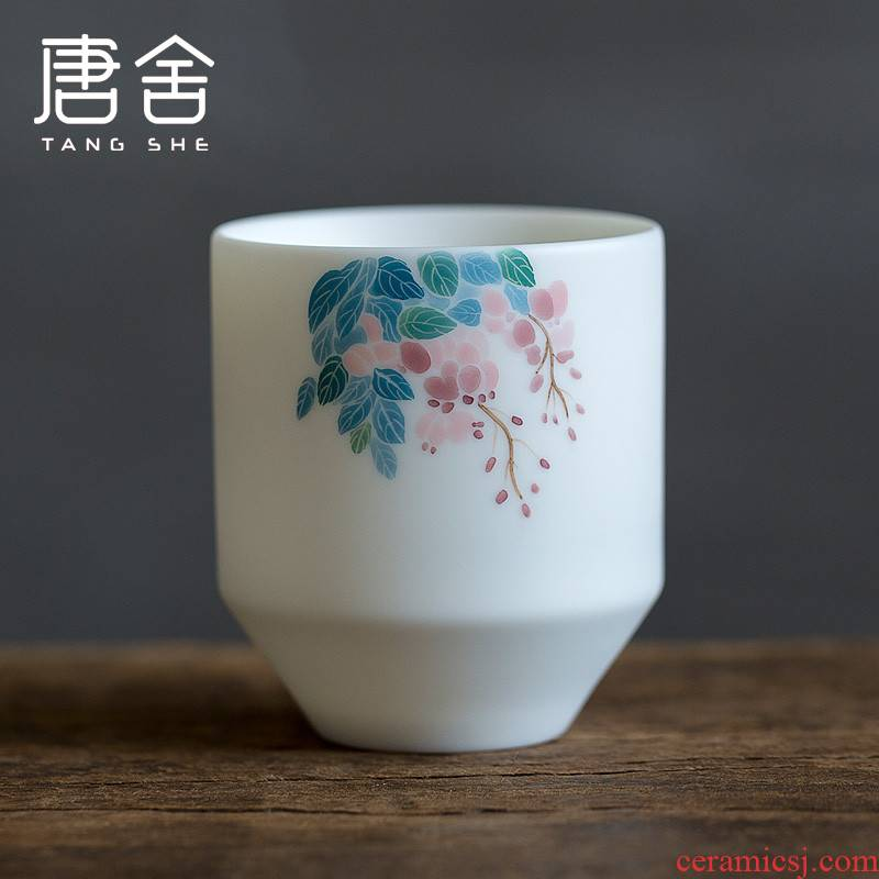 Tang s hand made white porcelain large - sized ceramic kung fu masters cup sample tea cup single straight glass cup home drinking tea