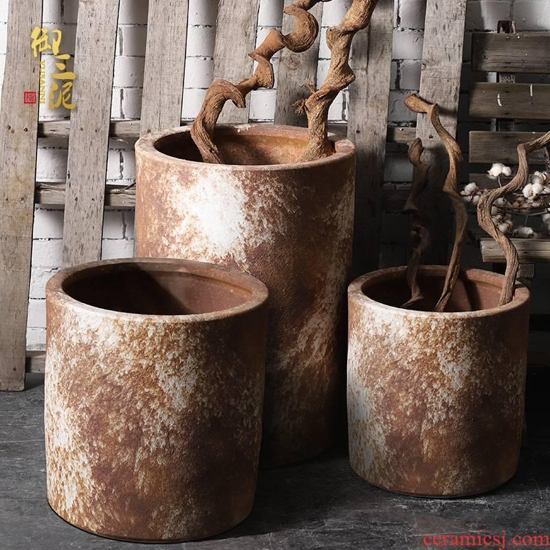 Large vase courtyard ceramic VAT landing tank flowerpot tank yard villa coarse pottery jars to restore ancient ways