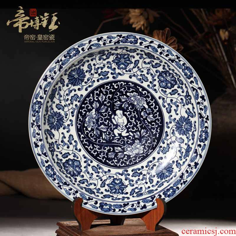 Antique hand - made porcelain of jingdezhen ceramics, the lad hang dish rich ancient frame home decoration handicraft furnishing articles