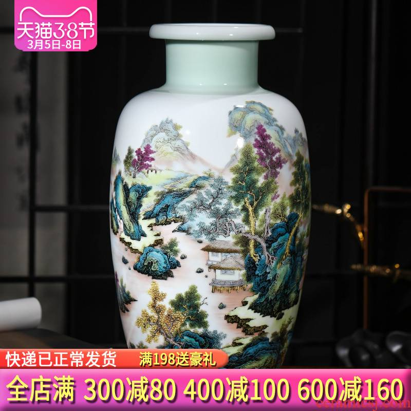 Jingdezhen ceramics, vases, flower arranging modern new Chinese style living room TV wine rich ancient frame accessories furnishing articles
