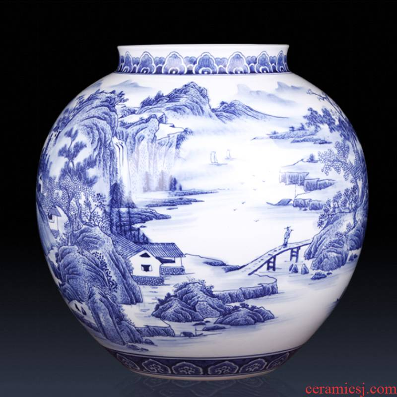 Jingdezhen ceramics famous master hand antique blue and white porcelain vases, large sitting room adornment is placed