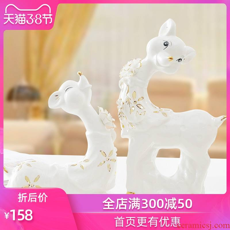 The Sequence of the strong ceramic handicraft wedding gifts creative furnishing articles TV ark adornment new home decoration paint sika deer