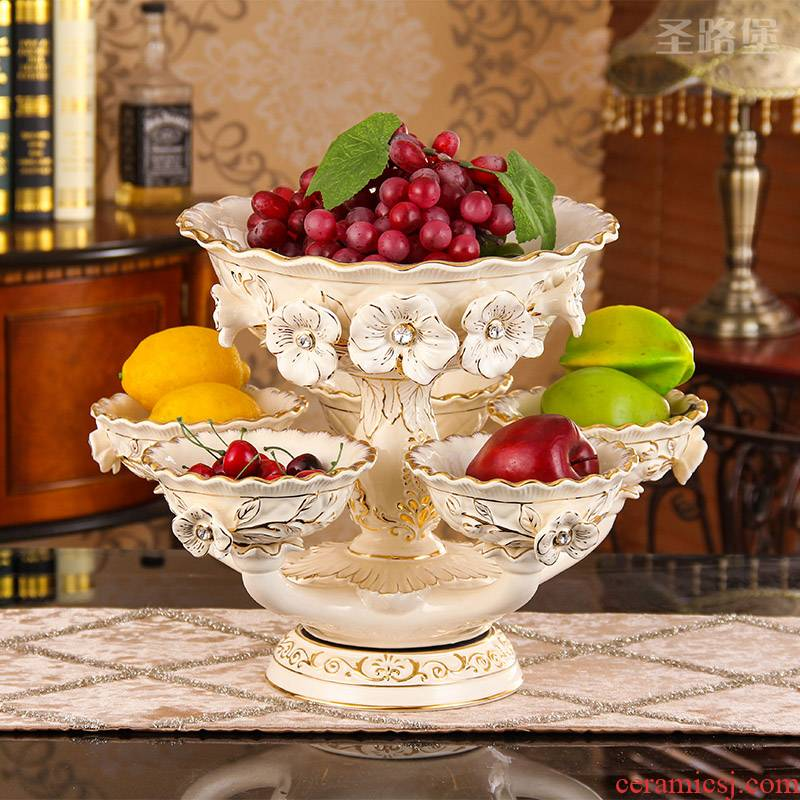 Ou compote ceramic fruit bowl sitting room place can rotate dry fruit bowl, multi - function double large candy dishes