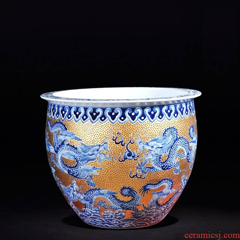 Jingdezhen ceramics high - end antique hand - made with household act the role ofing is tasted furnishing articles Jin Jiulong cylinder vase TV ark, adornment