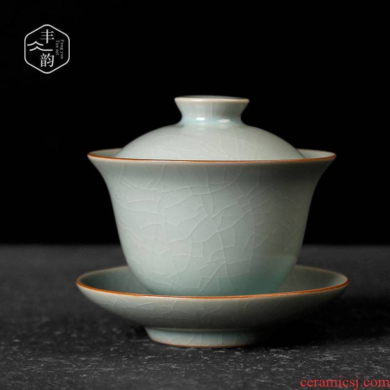 Your up only three tureen large cups tea kungfu ceramic household tea bowl on restoring ancient ways can raise the ice crack glaze