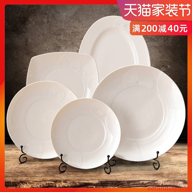 0 home white ceramic plate tableware the creative sheng hotel steak dinner plate round fish dish dish dish