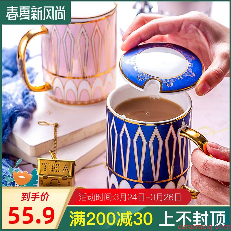 European style water ceramic keller cup milk cup cup of French coffee cup up phnom penh dish with cover with a spoon