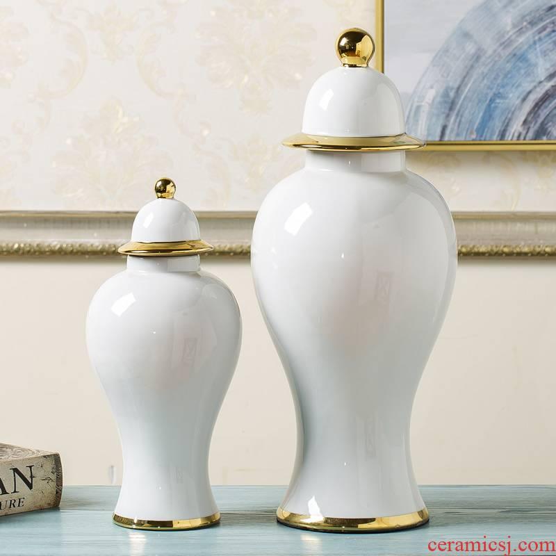 Jingdezhen general new Chinese style white pot vase postmodern light key-2 luxury furnishing articles sitting room porch soft adornment arranging flowers