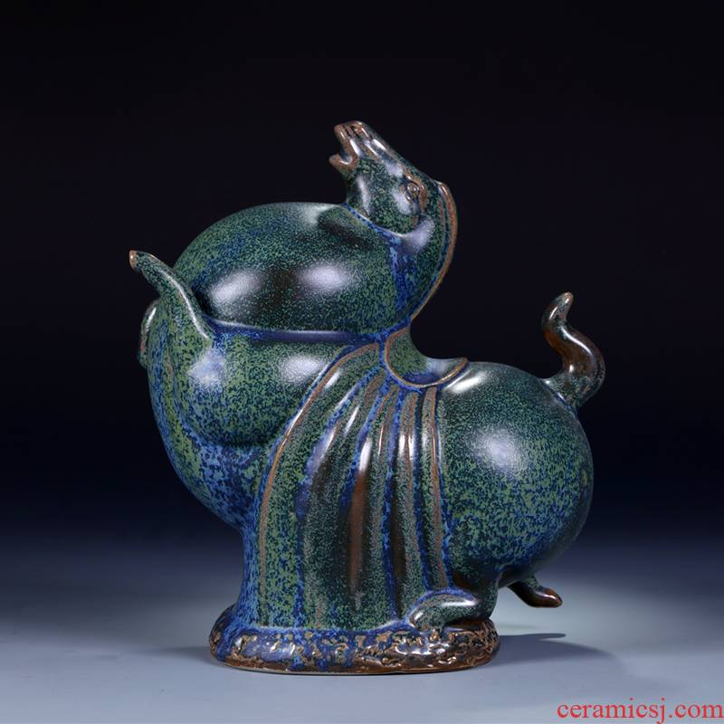 Jingdezhen imitation bronze ceramic horse step swallow archaize of new Chinese style classical household adornment handicraft furnishing articles sitting room