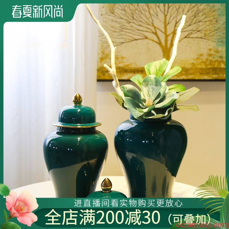 Jingdezhen ceramic flower vases of new Chinese style living room TV ark, home furnishing articles table simulation flower art