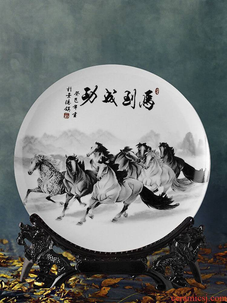 Jingdezhen ceramics decoration plate modern new Chinese style household act the role ofing is tasted, the sitting room porch TV ark, wine furnishing articles