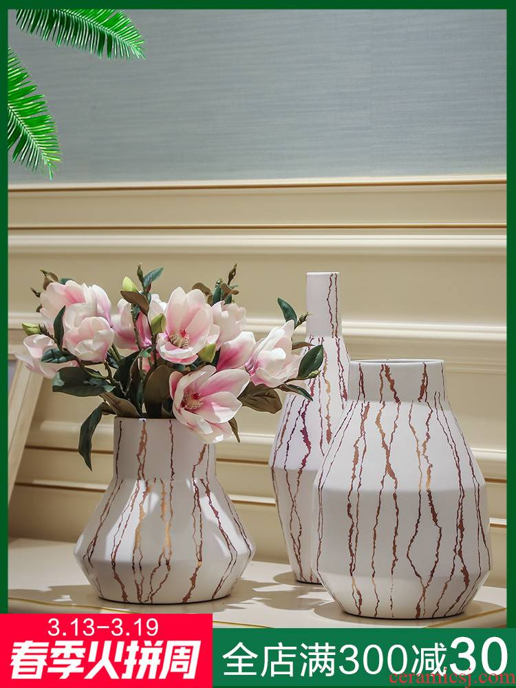 Jingdezhen ceramic vase decoration light key-2 luxury the mock up room a flower arrangement sitting room porch European new Chinese style table vase