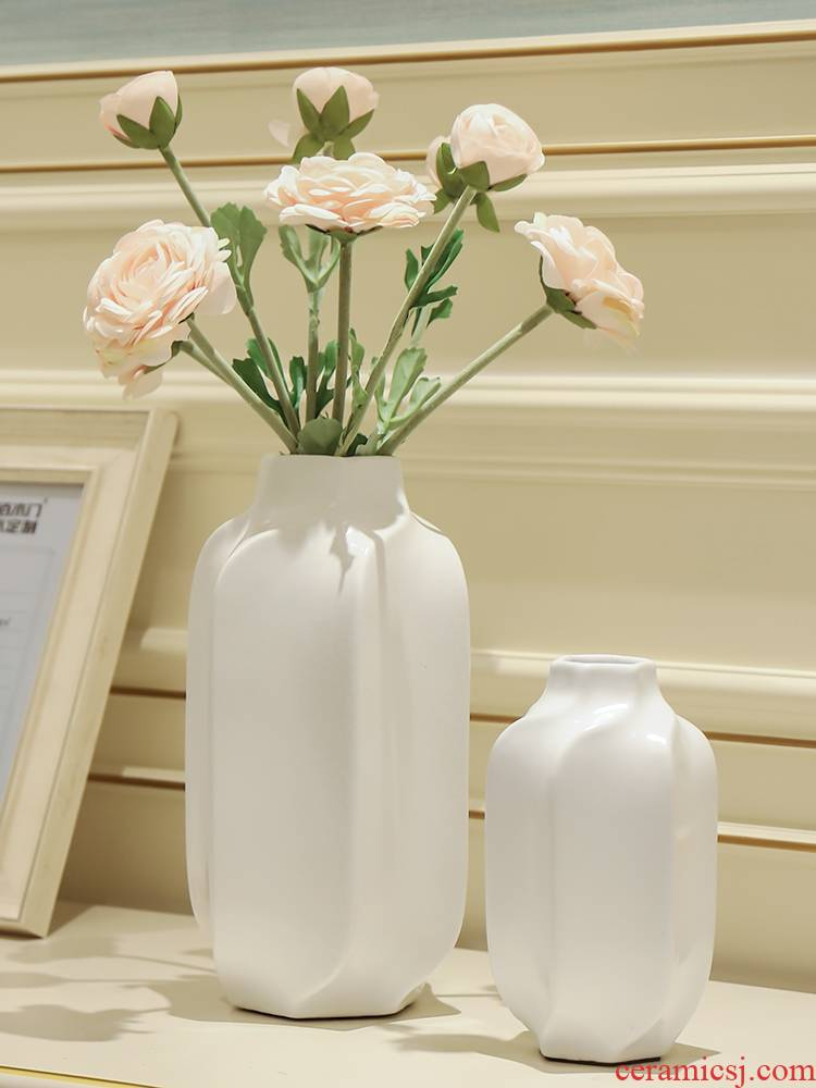 New Chinese style originality ceramic sitting room dining - room desktop simulation study vase floral soft adornment ornament