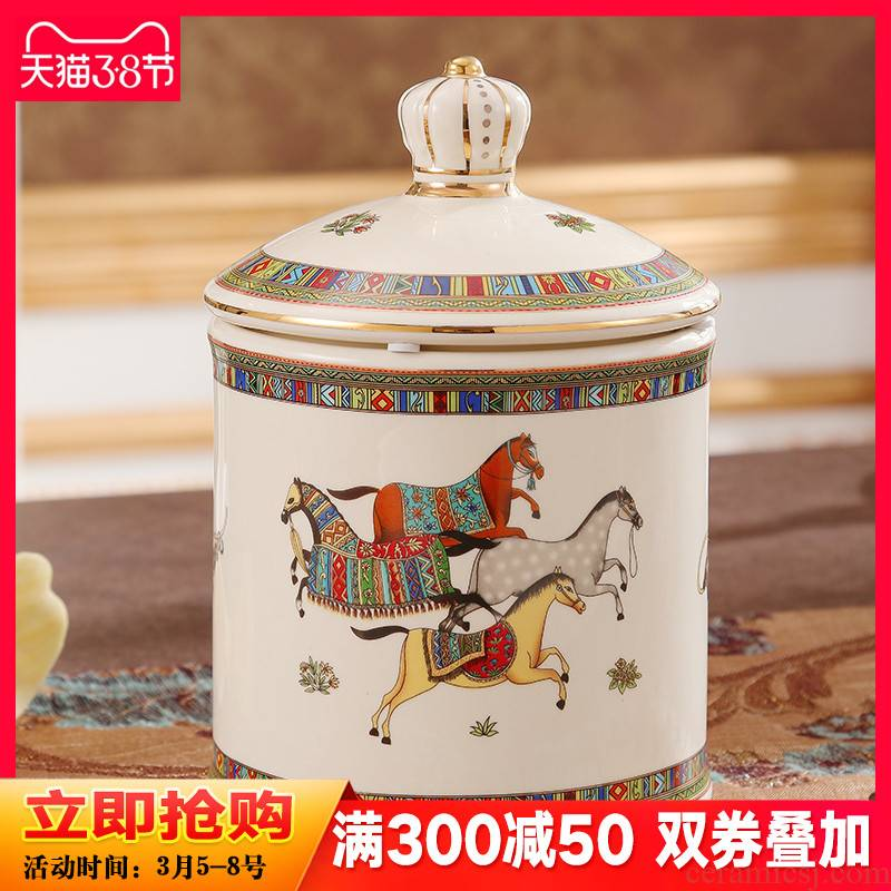 European ceramic storage tank candy jar caddy fixings decoration box receive a case of dried fruit snacks pot sitting room tea table furnishing articles
