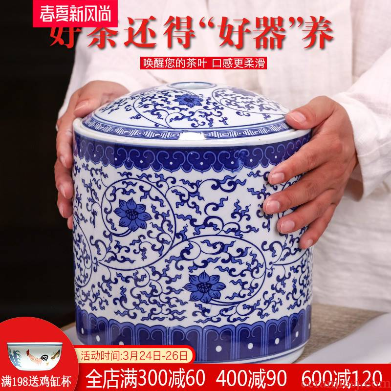 Caddy fixings ceramic seal tank storage POTS jingdezhen blue and white porcelain pot large tea pot of pu 'er tea cake