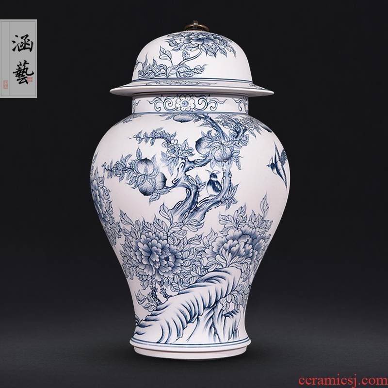 Hand - made porcelain of jingdezhen ceramics unglazed pot vase peony cultivars (general furnishing articles of the new Chinese style sitting room adornment