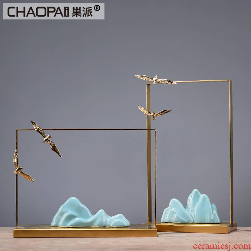 New Chinese style ceramic rockery place hotel club house sitting room porch metal golden indoor soft adornment ornament