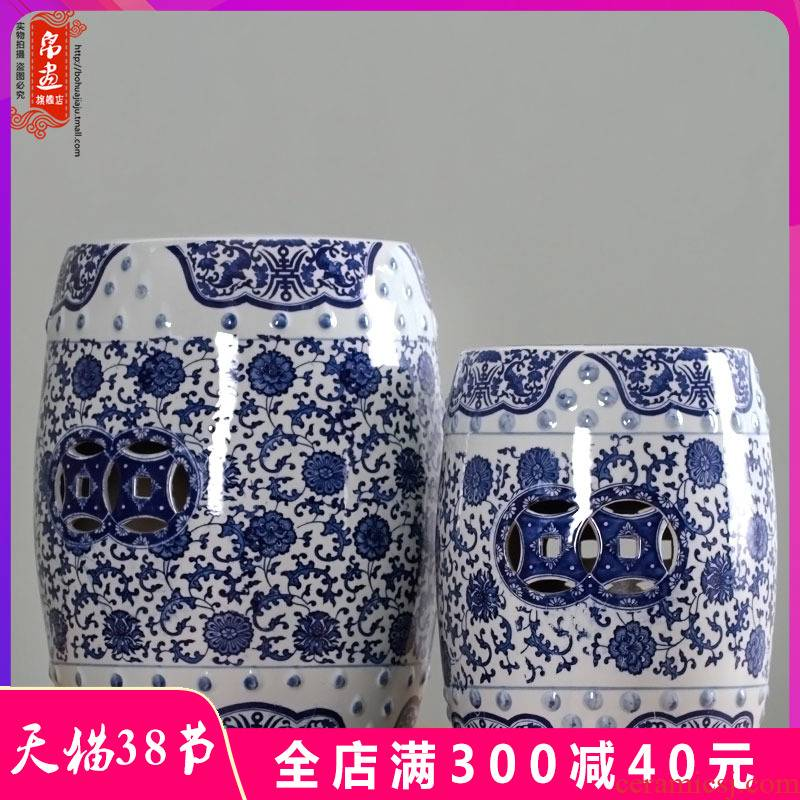 Ceramic hand made blue and white porcelain in shoes who drum who toilet who the new Chinese style of the ancients pier sit mound low, who is who