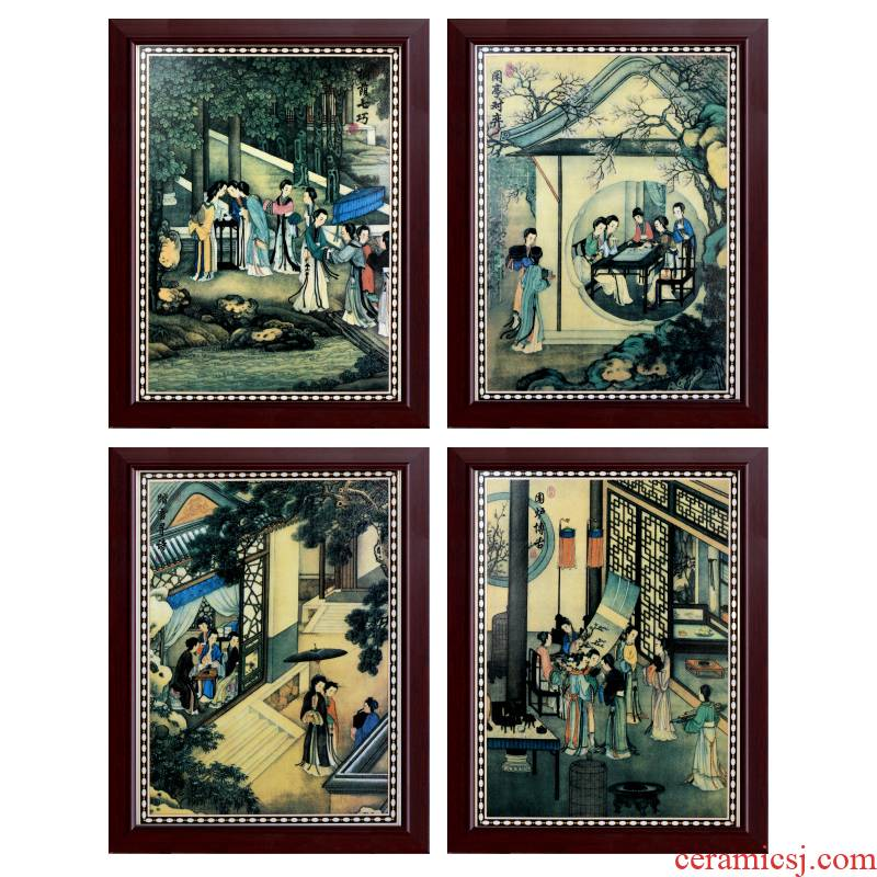 Jingdezhen ceramic painter antique piano chess calligraphy and painting porcelain plate in the sitting room adornment picture four screen corridor murals