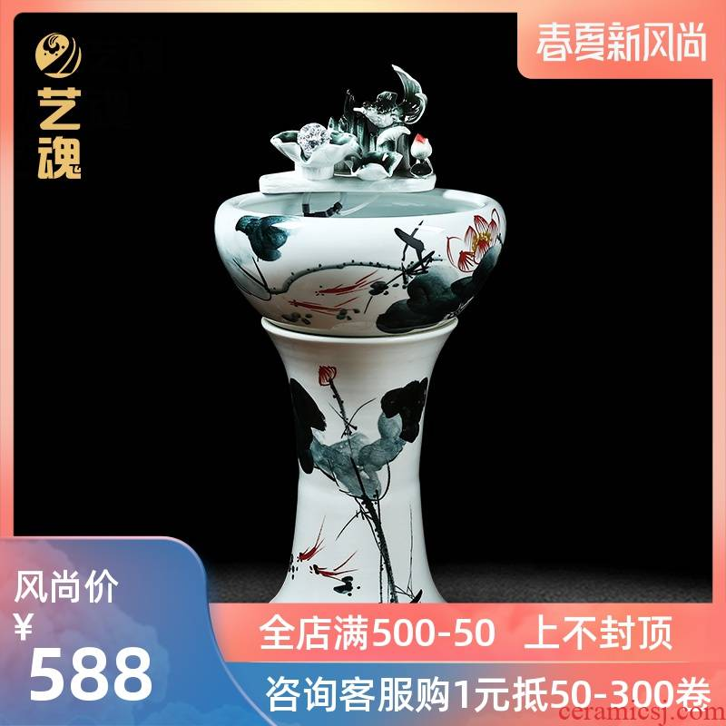 Jingdezhen ceramic oversized filtration pillar landing aquarium fish tank water lily bowl lotus basin brocade carp outside