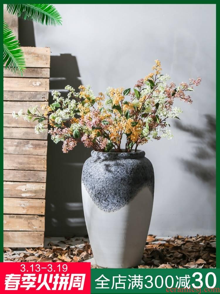 Jingdezhen ceramic retro big vase sitting room home furnishing articles between example hotel club flower arranging flower art study