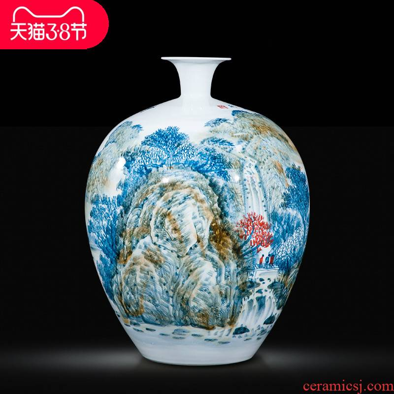 Jingdezhen ceramic celebrity master hand draw more than jiangshan jiao large vase household adornment handicraft furnishing articles