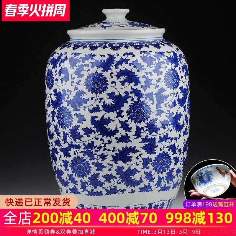 Blue and white porcelain of jingdezhen ceramics general tank size large barrel ricer box storage jar with cover pickle jar