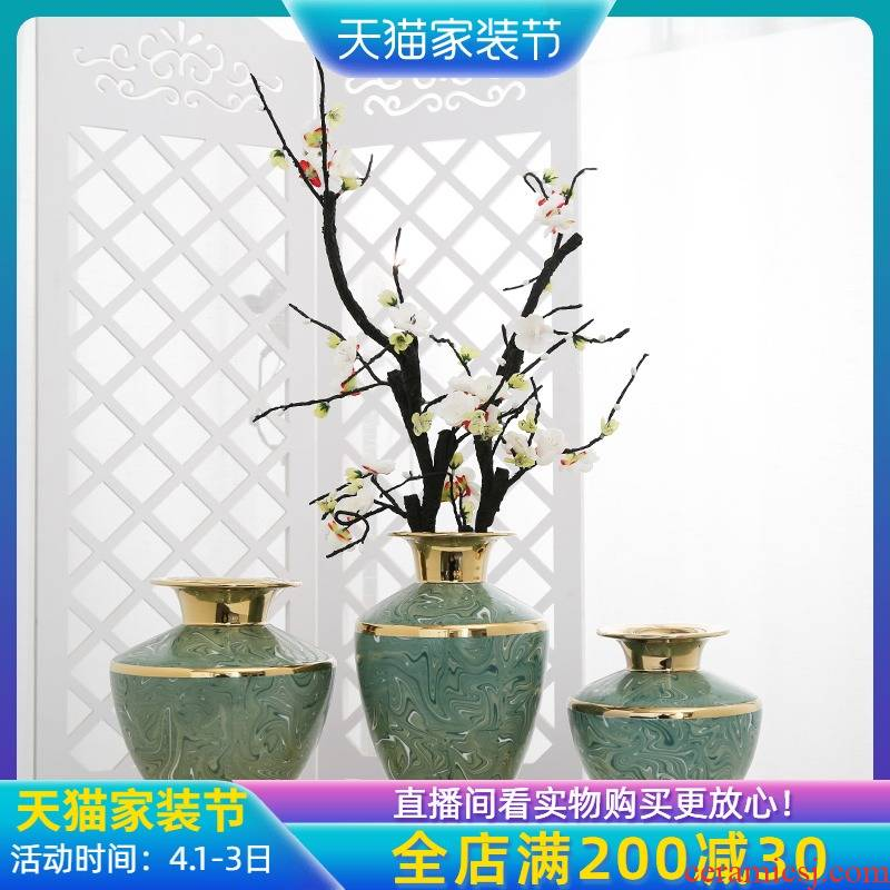 Jingdezhen new Chinese style decoration furnishing articles suit example room living room TV cabinet mesa porch vases, flower decoration