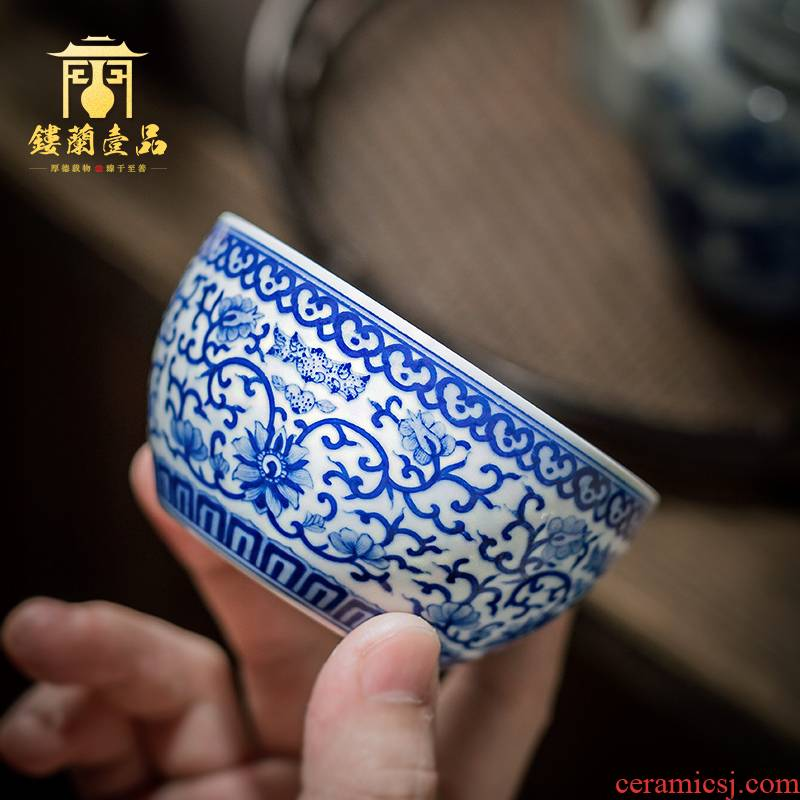 Jingdezhen ceramic hand - made of blue and white flowers around branches maintain master cup kung fu tea set sample tea cup bowl fragrance - smelling cup