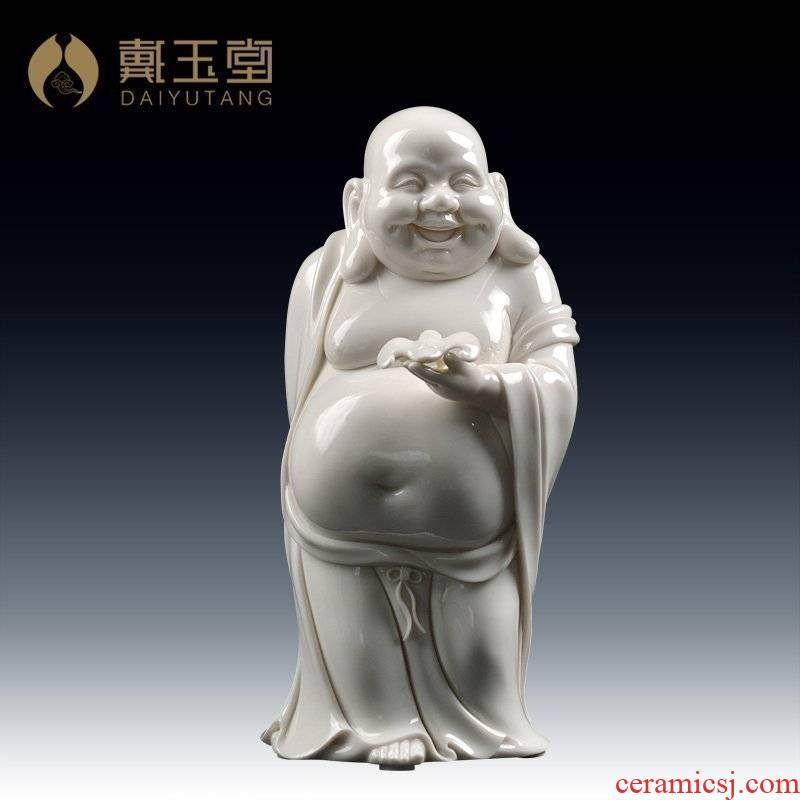 Yutang dai dehua white porcelain ceramic laughing Buddha furnishing articles study ancient frame decoration/fortune maitreya shelf