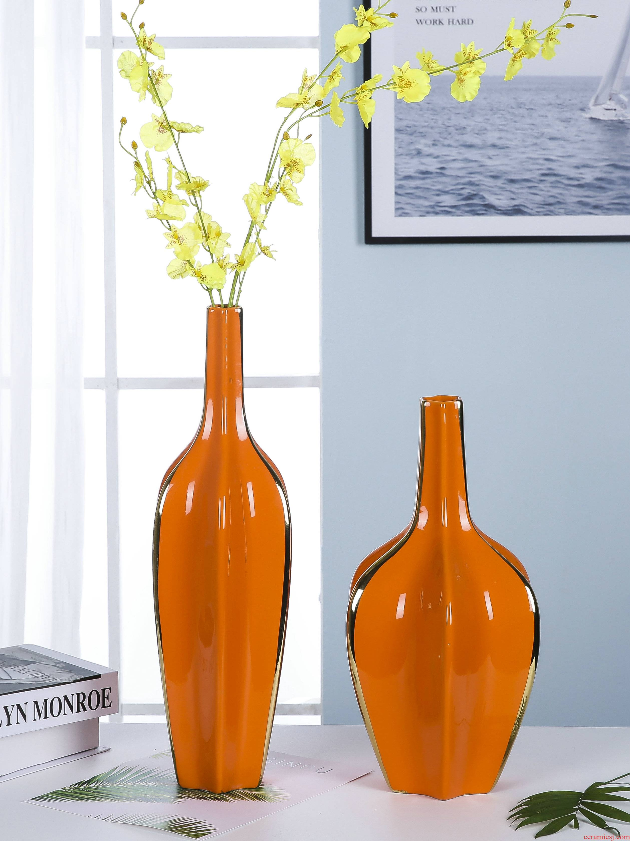 The Modern jingdezhen ceramics vase sitting room porch TV ark adornment flowers orange blue furnishing articles club hotel