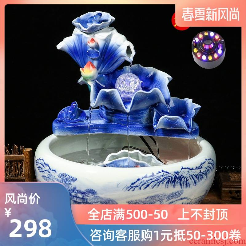 Jingdezhen ceramic aquarium water fountain creative fish circulation place small sitting room adornment