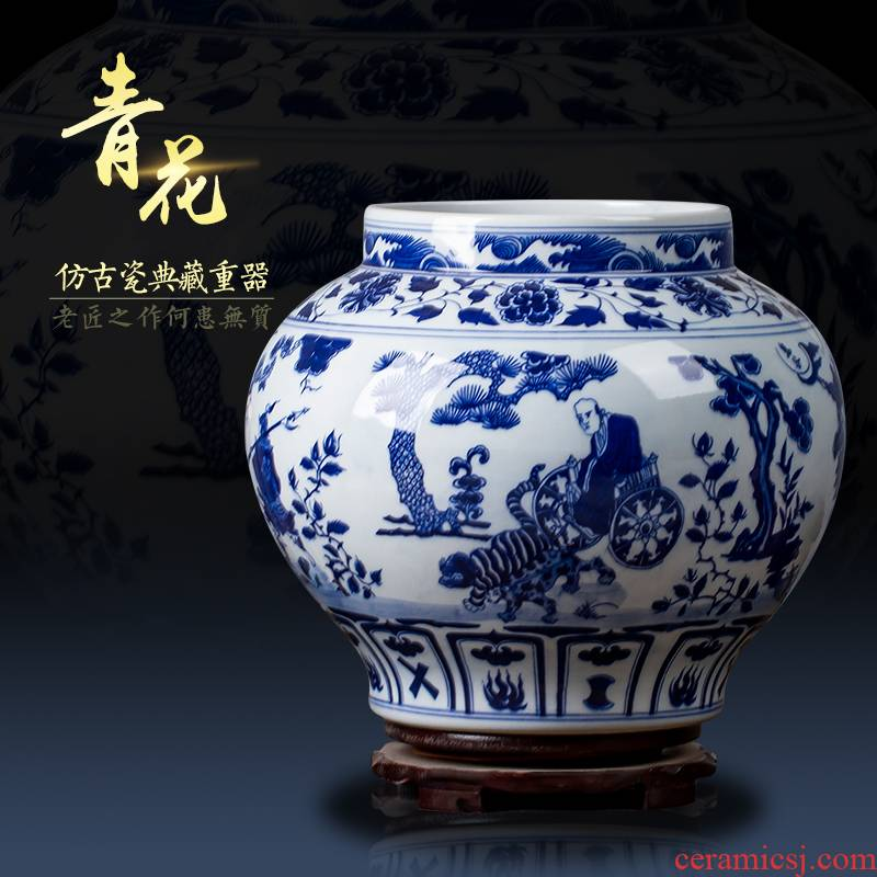 Antique blue - and - white ceramics furnishing articles archaize yuan blue and white porcelain guiguzi vase porch penjing collection office
