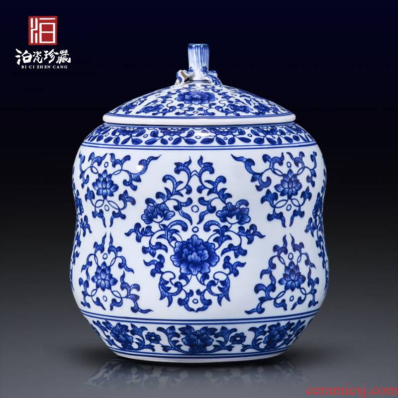 Jingdezhen blue and white storage tank caddy fixings antique ceramics new Chinese style living room home decoration vase furnishing articles