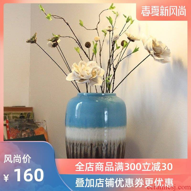 Modern Chinese style European Mediterranean style ceramic color glaze floor vases, home furnishing articles sitting room adornment