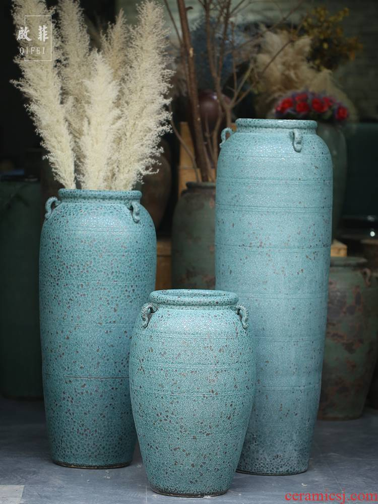 Jingdezhen new Chinese vase manual coarse landing some ceramic jar jar flower implement earthenware do old archaize large flowers