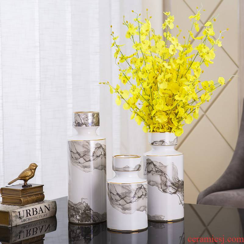 Jingdezhen ceramic vase light key-2 luxury furnishing articles of new Chinese style flower arranging dried flowers sitting room adornment table porcelain decoration