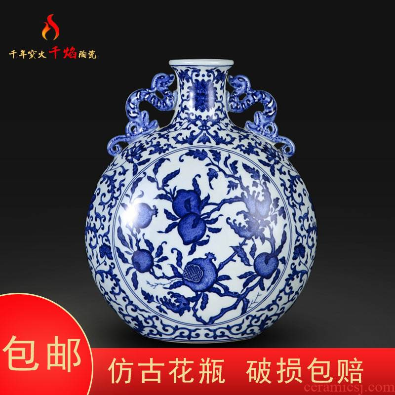 Jingdezhen ceramic hand - made peach on a bottle of blue and white porcelain vases, flower arranging rich ancient frame sitting room of Chinese style household furnishing articles