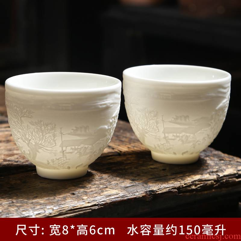 Dehua white porcelain household small six cups with suet jade porcelain kung fu tea tea tea cup contracted suits for