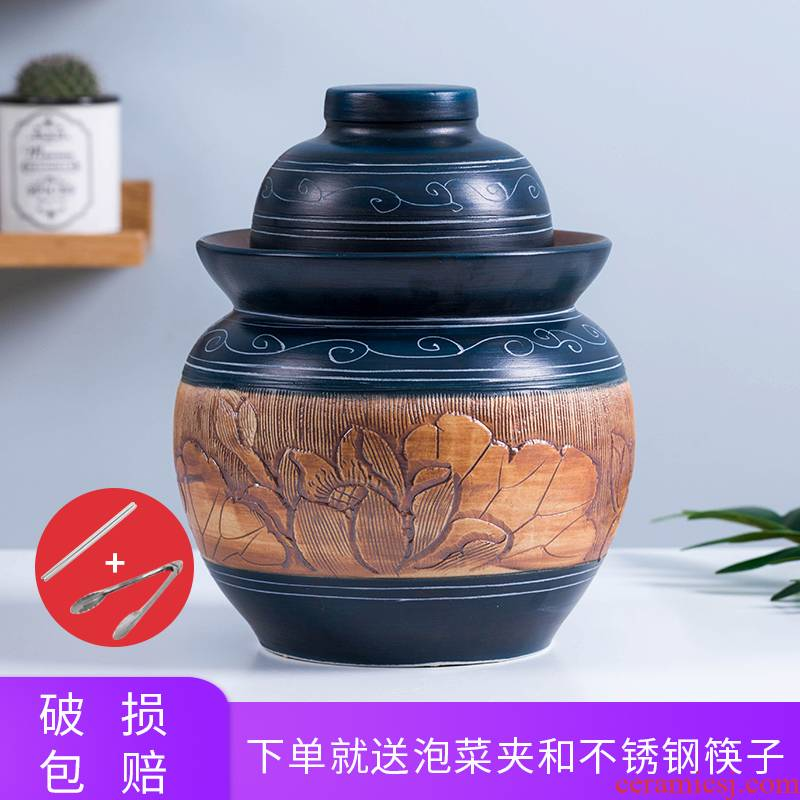 The Pickle jar jingdezhen ceramic household small Pickle earthenware storage sealed Pickle jar of pickles jar jar