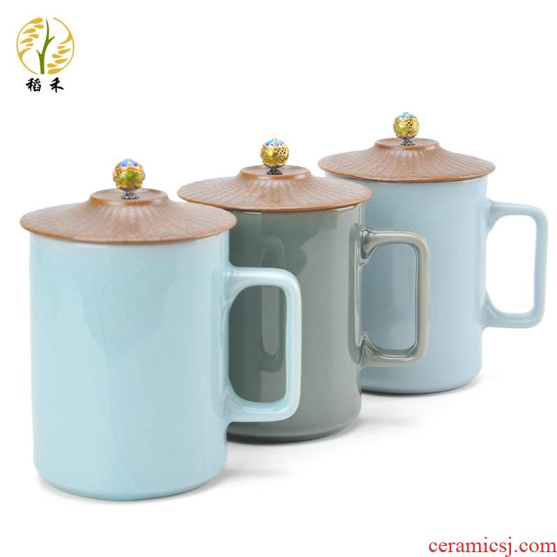 Your up ceramic tea cup glass mugs male with cover creative Chinese contracted glass tea cup of the big office