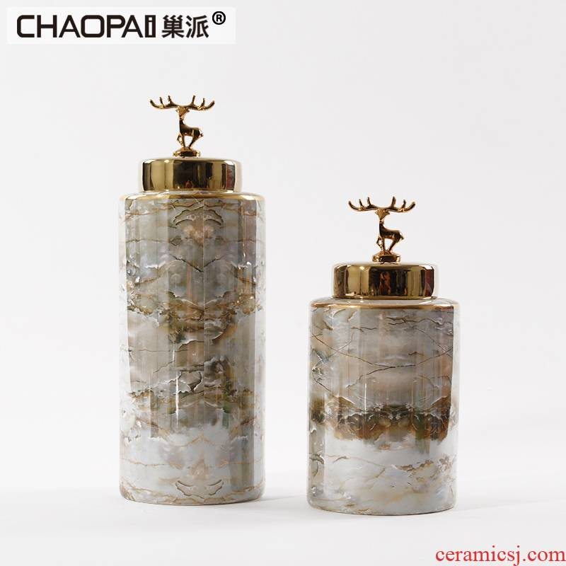 Light European - style key-2 luxury marble ceramic furnishing articles post - modern Chinese style living room porch window decoration vase decoration