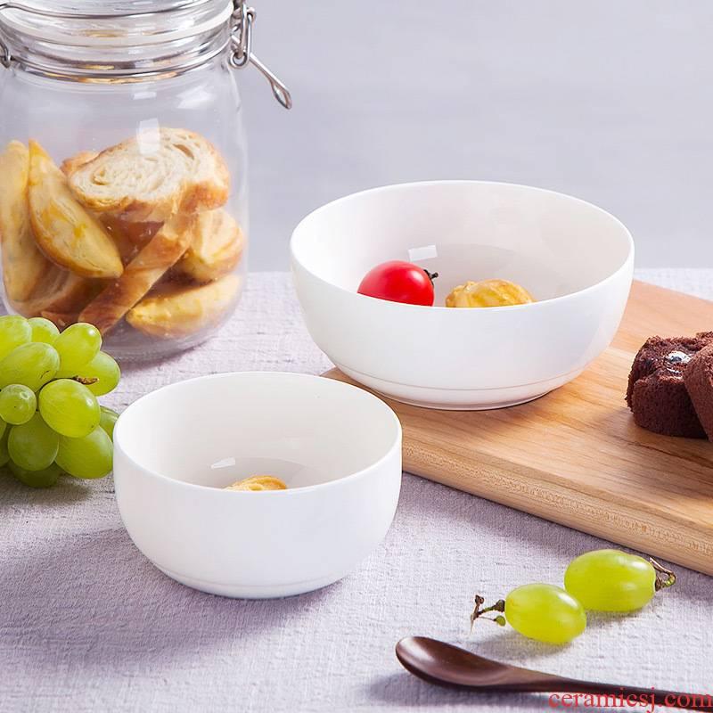 Pure white ipads porcelain rice bowls of jingdezhen household ceramics tableware rainbow such use salad bowl Chinese Korean bowl dessert bowls