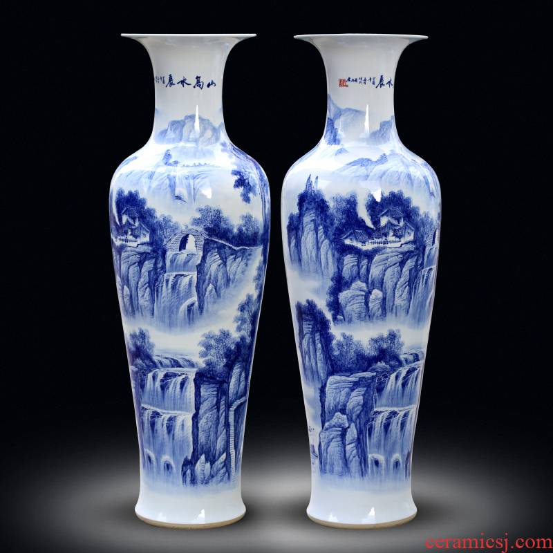 Jingdezhen ceramics of large vase furnishing articles large - sized hand - made sitting room adornment hotel feel of blue and white porcelain gifts