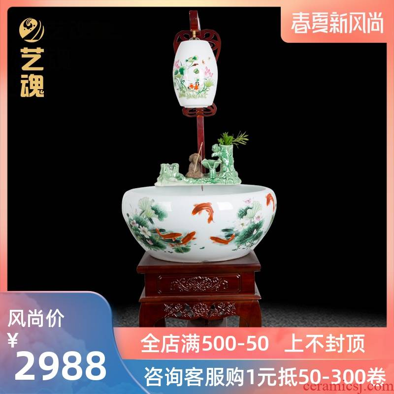 Jingdezhen ceramic home sitting room extra large turtle cylinder fish bowl filter furnishing articles circulating water to raise a goldfish bowl