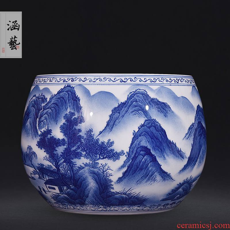 Jingdezhen ceramics hand - made porcelain family aquarium fish sitting room adornment handicraft furnishing articles of the new Chinese style in the mountains
