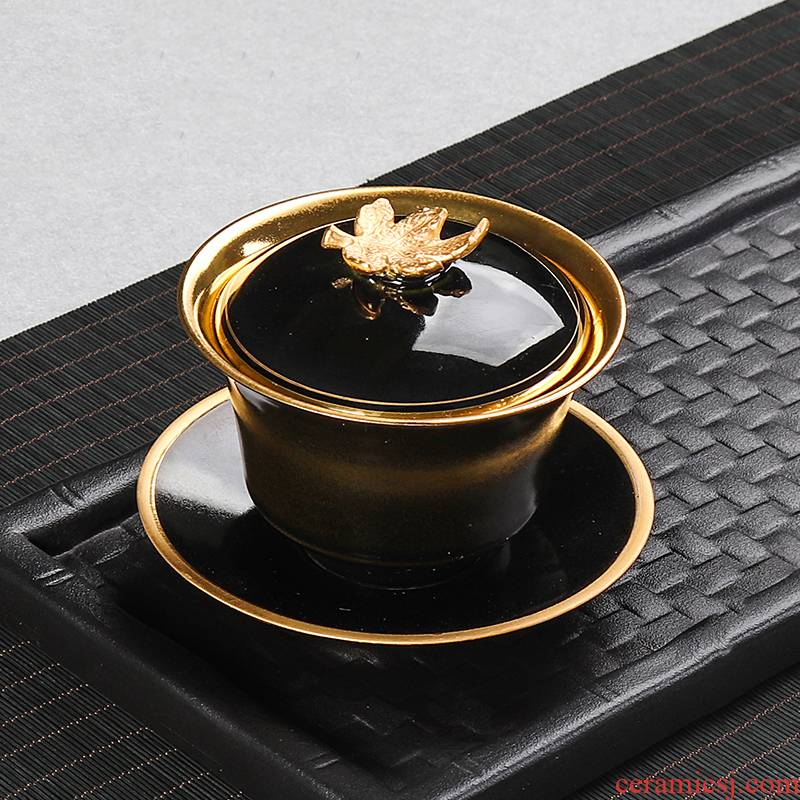 Tureen large cups of pure gold silver 999 kung fu tea set of household ceramic teapot tea bowl three bowls