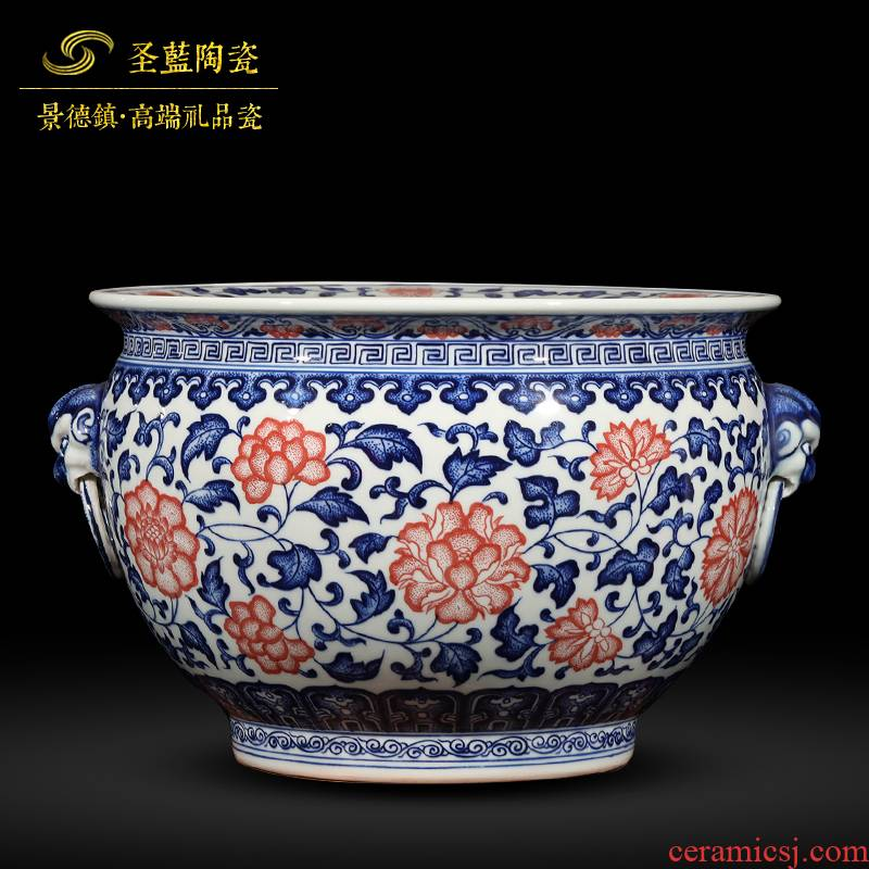 Hand - made porcelain of jingdezhen ceramics youligong lucky fish tank vase and furnishing articles furnishing articles antique Chinese style living room