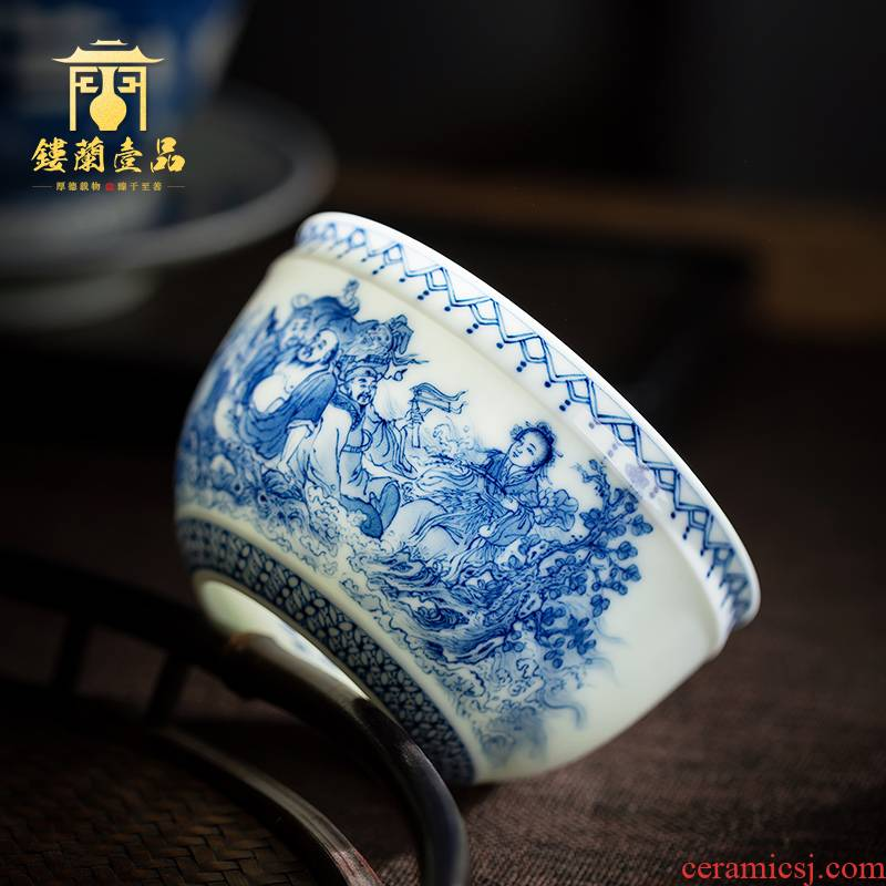 All hand blue sea master single CPU jingdezhen ceramic kunfu tea, tea sample tea cup masters cup