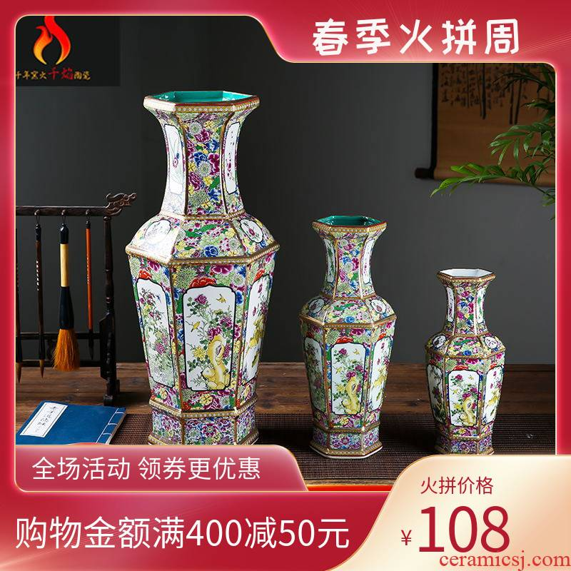 Jingdezhen ceramics vase archaize colored enamel six surface edge household adornment flower arranging furnishing articles of Chinese style restoring ancient ways